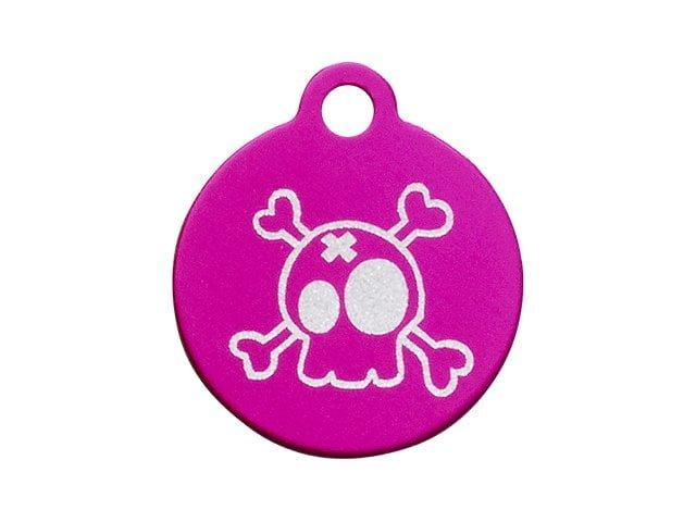 iMARC Small Pink Circle, Cartoon Style Skull & Crossbones