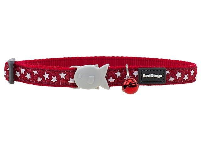 Red Dingo kattehalsbånd, rød med stjerner