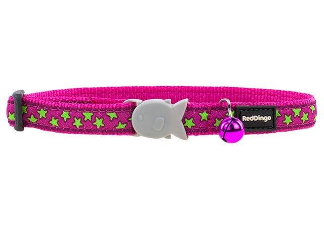 Red Dingo kattehalsbånd, hot pink med stjerner