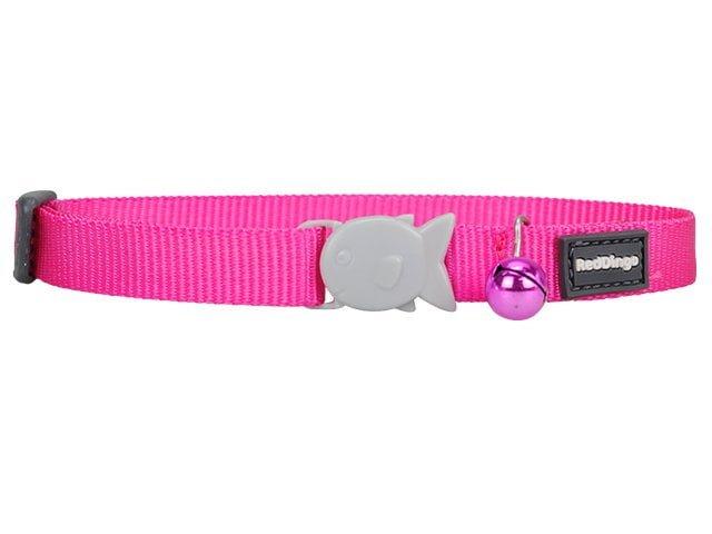 Red Dingo cat collar, classic hot pink