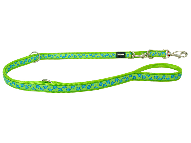 Red Dingo dressage line, turquoise stars on lime, 20mm