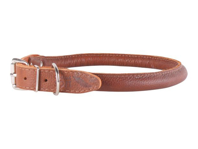 Waudog Soft round sewn leather necklace, brown