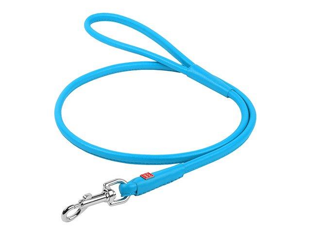 Waudog rundsyet læder førerline, 122cm/6mm, blå