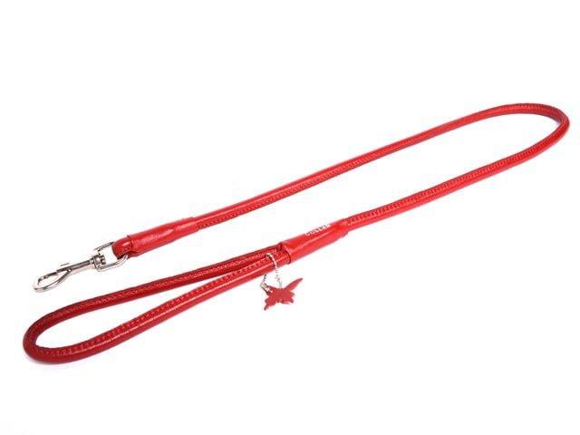 Collar rundsyet læder førerline, rød