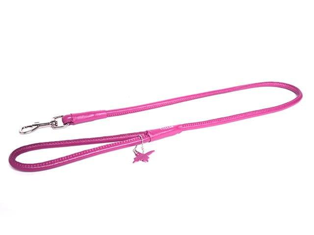 Collar rundsyet læder førerline, pink