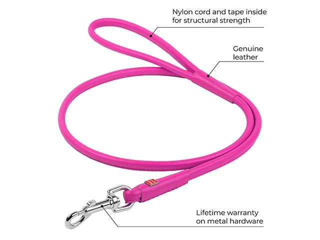 Waudog rundsyet læder førerline, pink