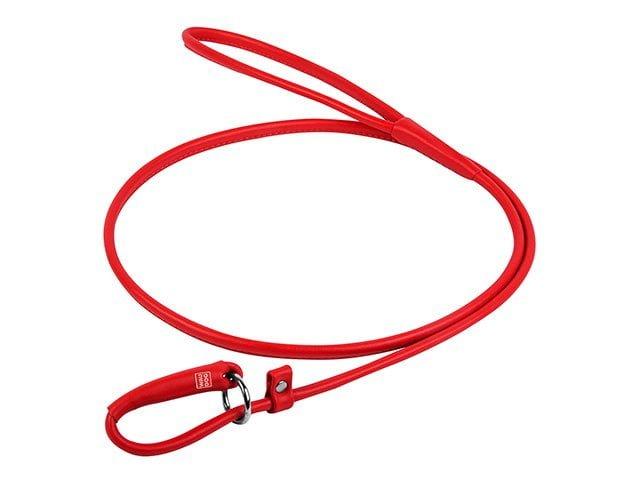 Waudog rundsyet læder udstillingsline, 135cm/6mm, rød