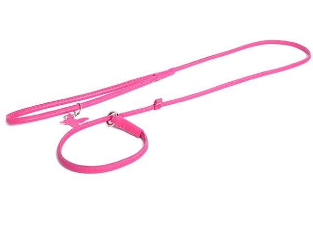 Collar rundsyet læder udstillingsline, pink