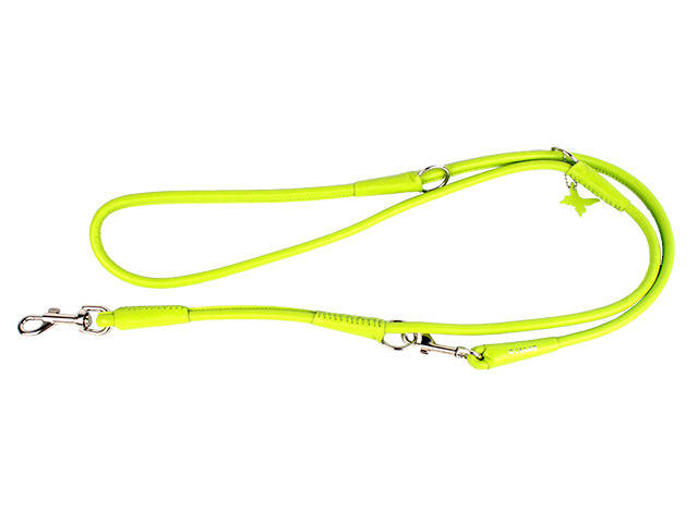 Collar round sewn leather dressage line, 183cm / 6mm, lime
