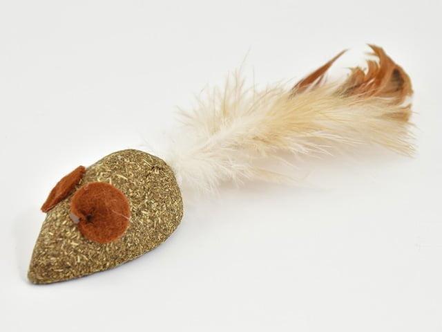 Catnip mus med fjer, 5cm