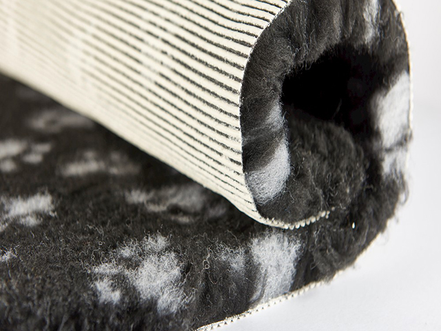 Vet Bed non-slip, 100x150cm, black with gray paws