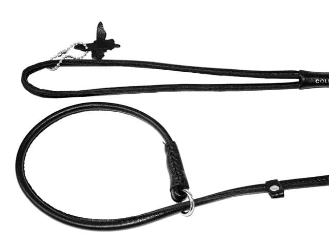 Waudog Soft rundsyet læder udstillingsline, 135cm/6mm, sort
