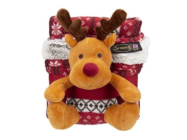 Scruffs Santa Paws rug + reindeer gift set, red