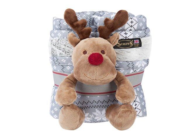 Scruffs Santa Paws rug + reindeer gift set, gray