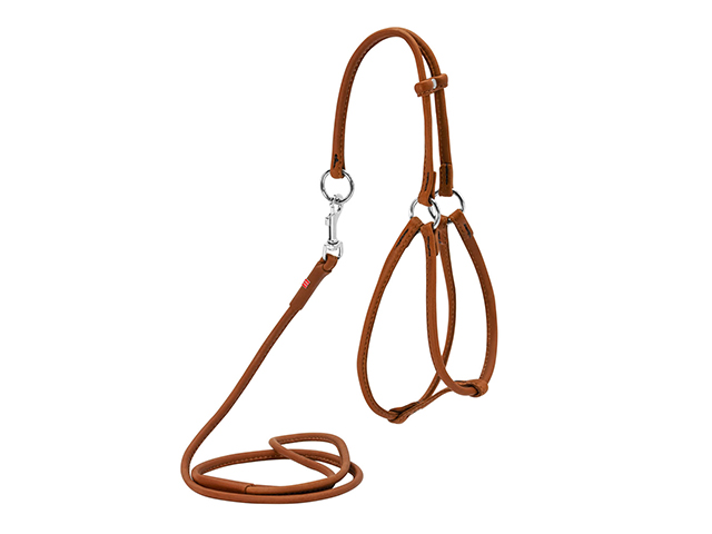 Waudog Soft round sewn leather harness + line, brown