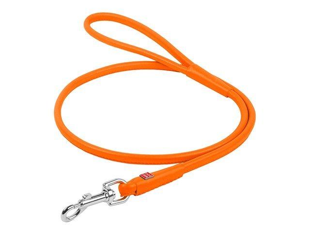 Waudog rundsyet læder førerline, 122cm/6mm, orange
