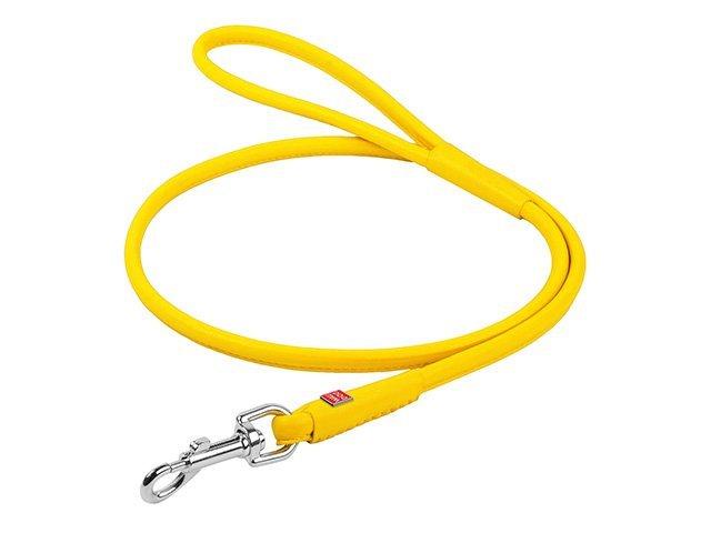 Waudog rundsyet læder førerline, 122cm/6mm, gul
